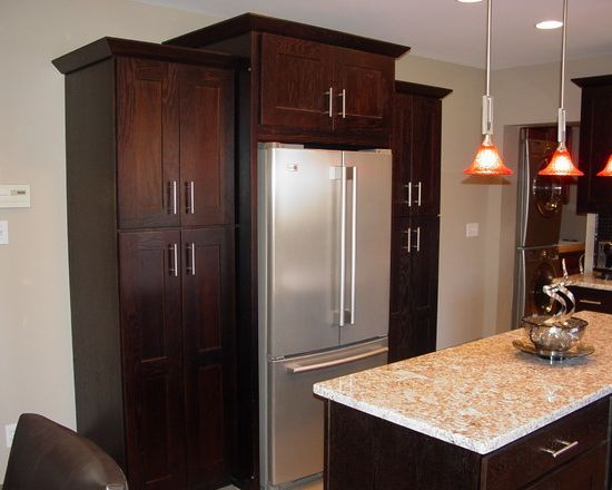 designing around the refrigerator  Cabinets around
