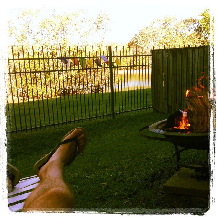 Backyard fire, banana lounge. #chillaxing
