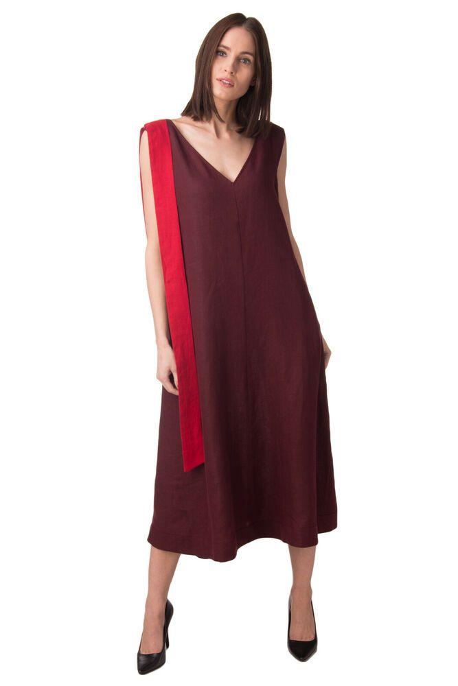 1ac5fa34cc1 MARINA RINALDI Linen Midi Shift Dress Plus Size 23   M Tie Made in Italy