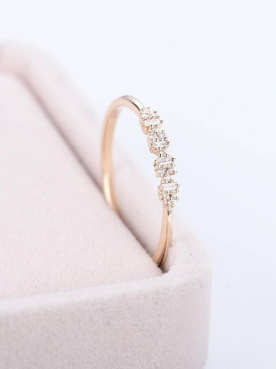Promise Ring Art Deco Antique Unique Stacking Gold Wedding Band