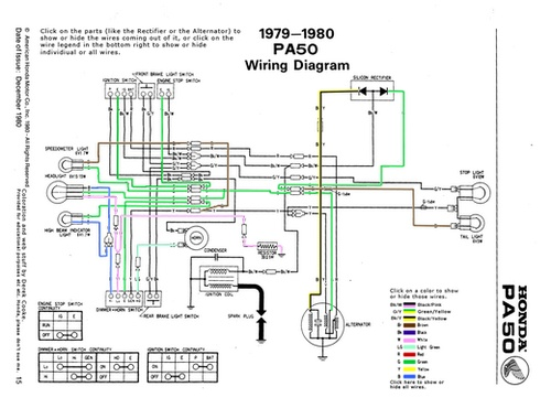 Awesome interactive diagram of the Honda Hobbit  PA50 wiring system! Click through #moped