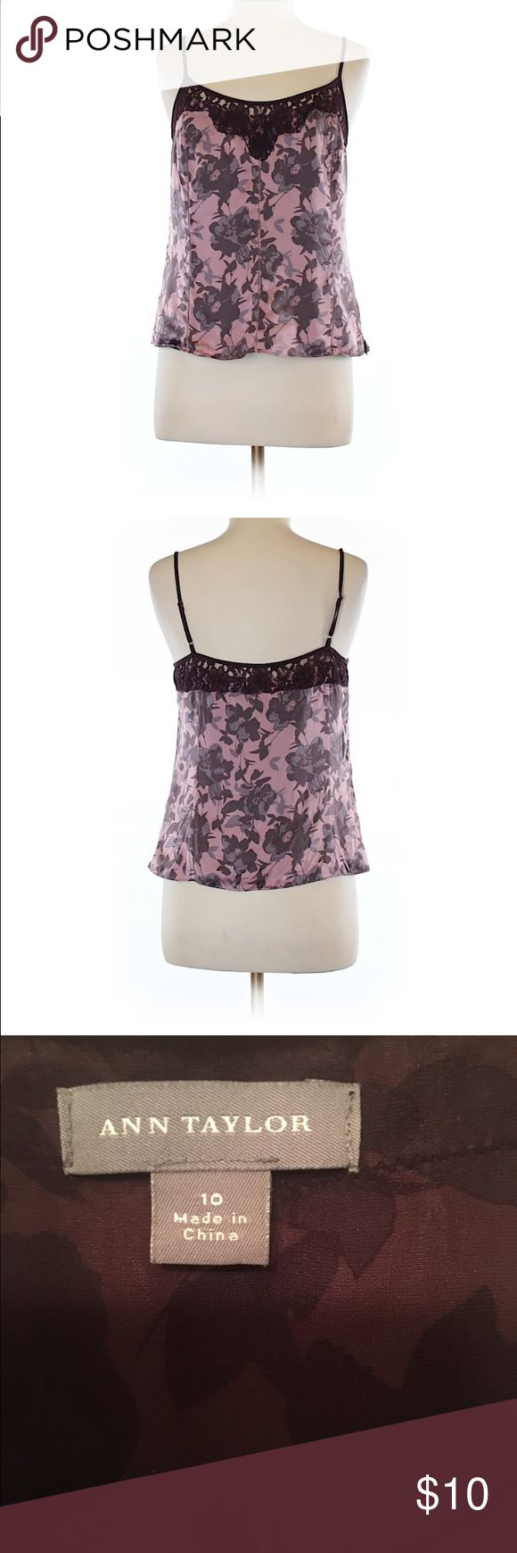 Ann Taylor silk top size 10 This is excellent condition purple hues silk top. Has a hidden side zipper for easy on and off. Length is 14 inches long. Ann Taylor Tops Camisoles