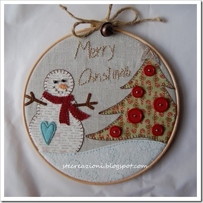 cute snowman in embroidery hoop