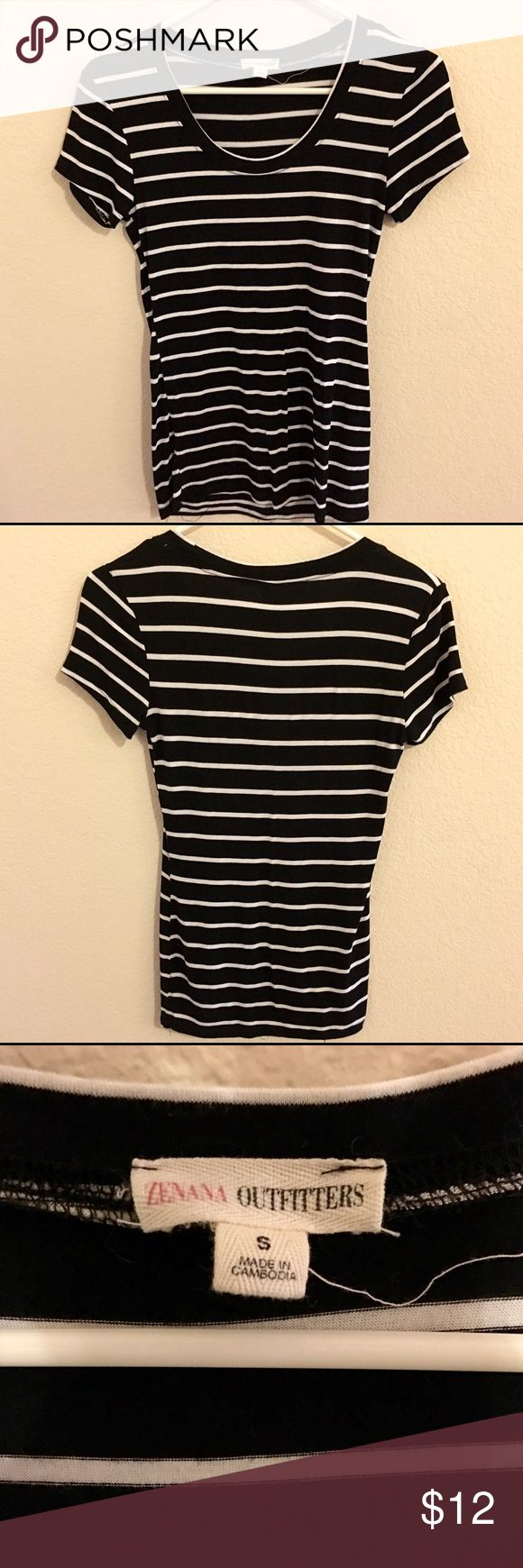 Black and White Striped Fitted Top Pre-owned and well loved, but in great condition. This tee is super soft and super cute. Tops Tees - Short Sleeve