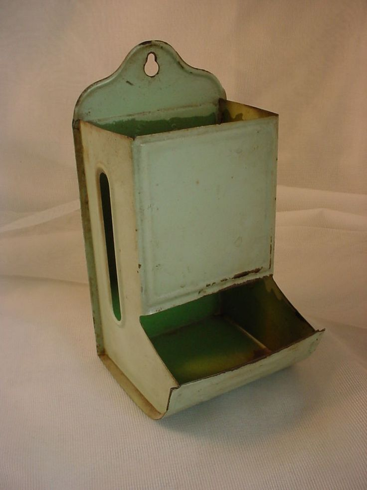 Green Vtg Antique Painted Tin Metal Wall Mounted Wooden