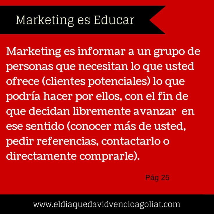 Marketing es educar...http://bit.ly/vencergigantes