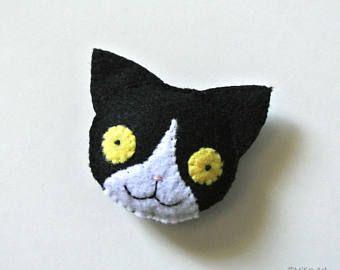 Blanco y negro gato regalo hecho a mano broche de fieltro gato amantes smoking accesorios fieltro Kitty Cat Pilot Pin Animal peluche peluche gato gracioso Don