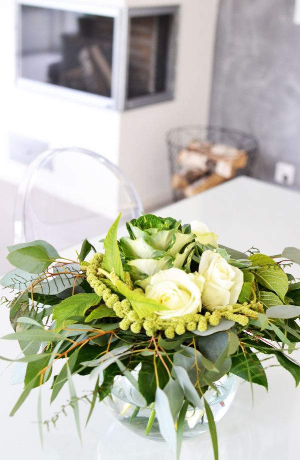 Scandinavian white and grey interior with flowers