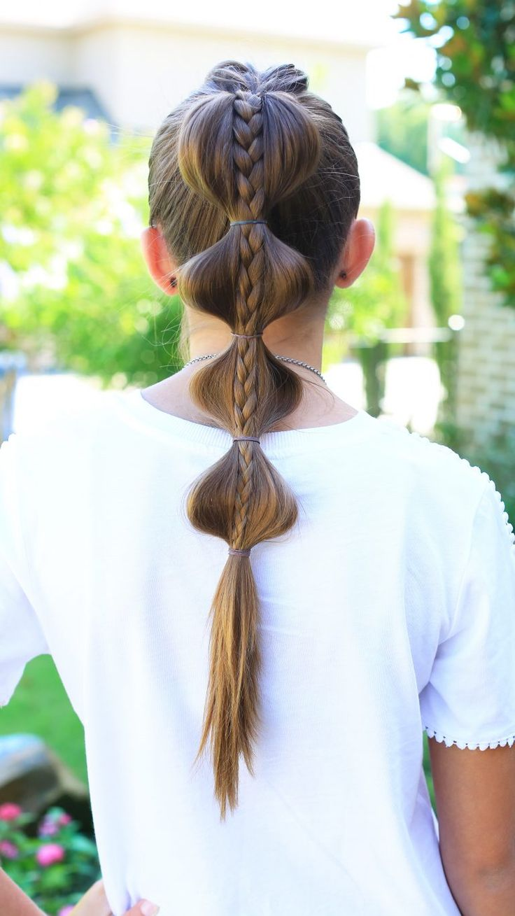 Stacked Bubble Braid | Top French braid into plain braid on top, high ponytail with bubbles pulled to the sides.
