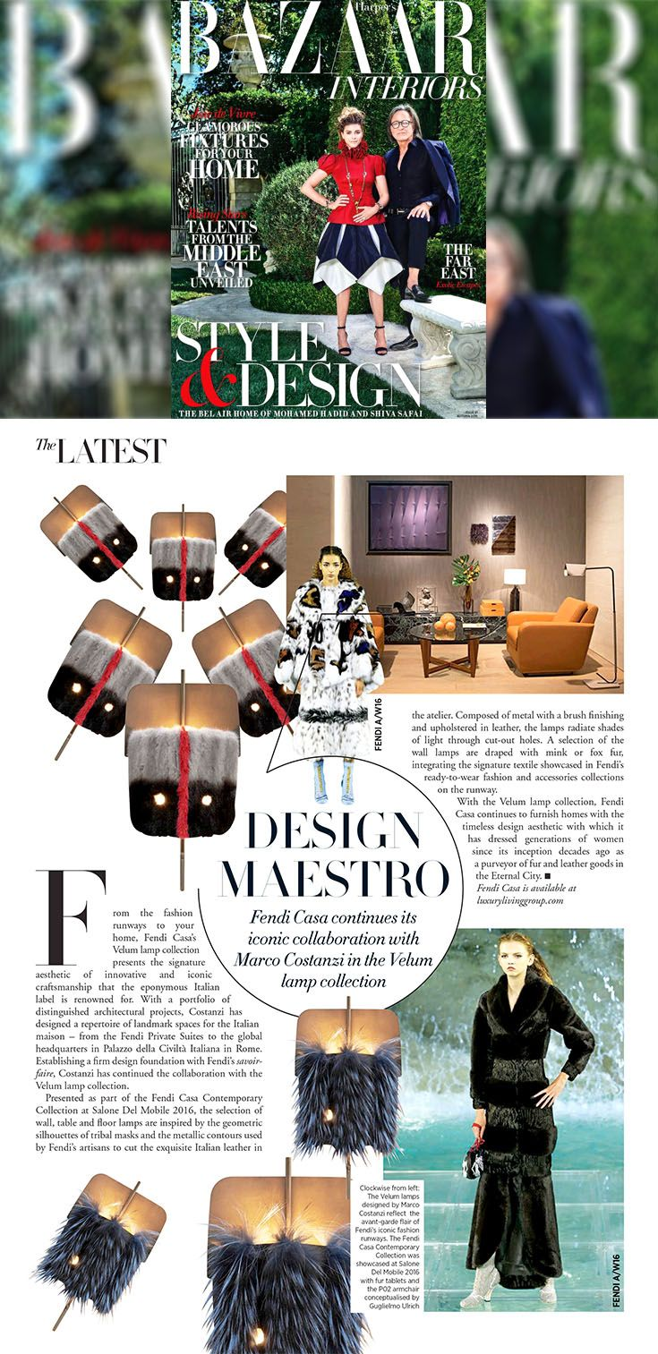 Thanks to #HarpersBazaar for the special feature dedicated to the collaboration between #FendiCasa and Arch. Marco Costanzi in the Velum lamp collection, presented as part of the Fendi Casa Contemporary Collection at Salone Del Mobile 2016.