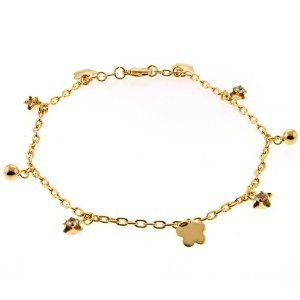 """10 Inches Stunning Gold Color Ankle Bracelet With CZ and Charms Gem Stone King. $20.49. 6.7 Grams. Cubic Zirconia (CZ). 10"""" Ankle Bracelet with CZ and Charms"""