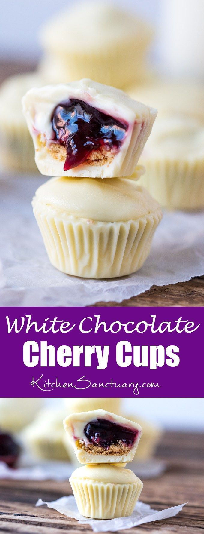 Bite sized creamy white chocolate cups filled with crushed biscuit and cherries - a simple 3-ingredient treat!