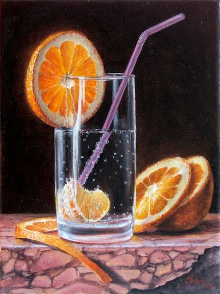Sliced orange and soda contemporary realism oil painting still life of fruit