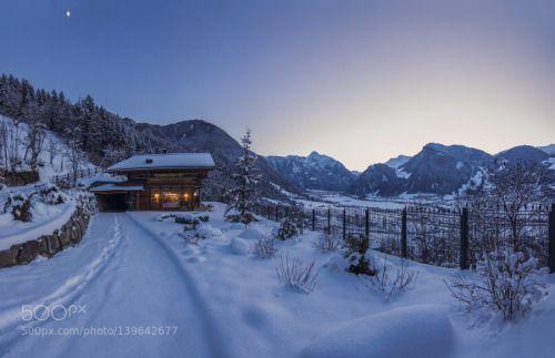 winter lodge 5 by Thomas_Hoflacher  winter warm austria alps tirol holiday tyrol mayrhofen sonnenuntergang haus urlaub schnee hütte frei