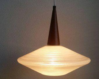 Deense stijl glas & hout PHILIPS HOLLAND hanger licht (lamp retro vintage 60s 50s half eeuw)