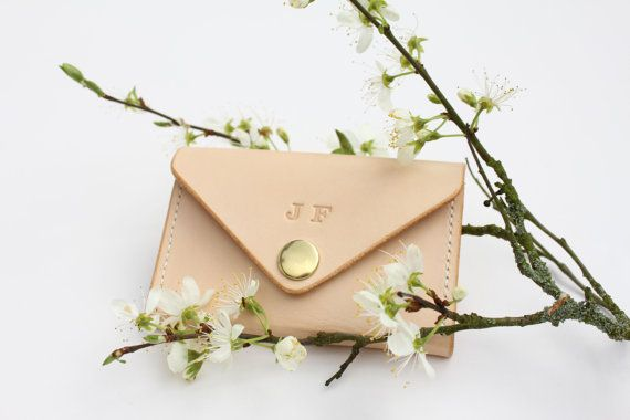 Handmade leather card wallet.Natural veg-tan British leather card/business card holder with snap fastener.Personalised with a monogram. UK