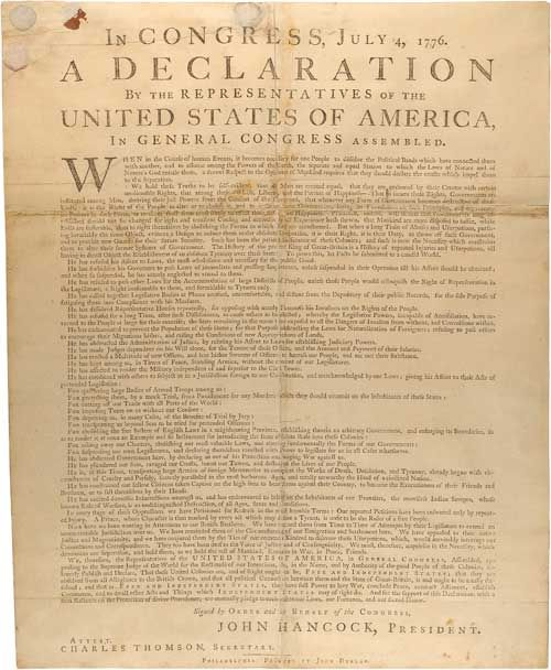 The list of abstractions in the declaration of independence