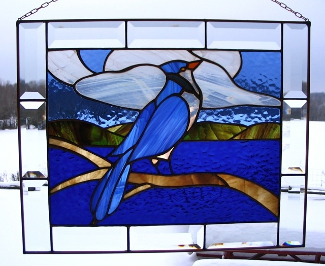 Bluejay stained glass
