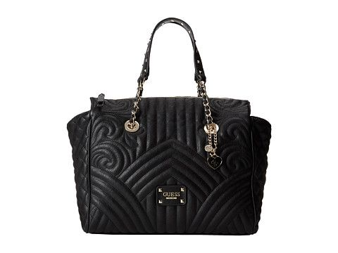 GUESS Quilting Rose E/W Satchel Black - 6pm.com