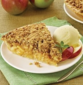 HOMESTYLE APPLE CRUMBLE PIE. This over-stuffed pie is like having a country-house classic crumble, just like grandma made! - M & M Meat Shops