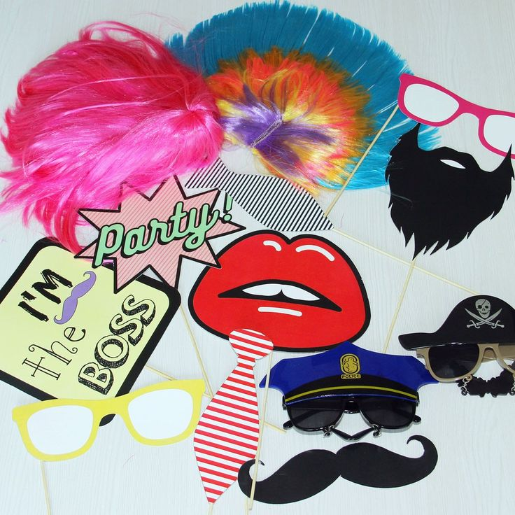 6 - Photo props (mustache, beard, lips, 2 sunglasses, I'm the boss, 2 ties, party!)  Swag Station Party Pack at 2,500/-