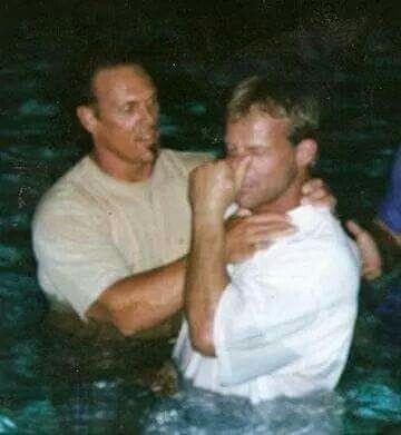 Steven Borden (sting) baptizing Lex Luger very cool pic!