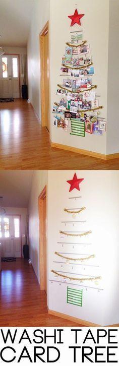 Washi tape Christmas card tree! A fabulous and affordable way to display Christmas cards this holiday season!