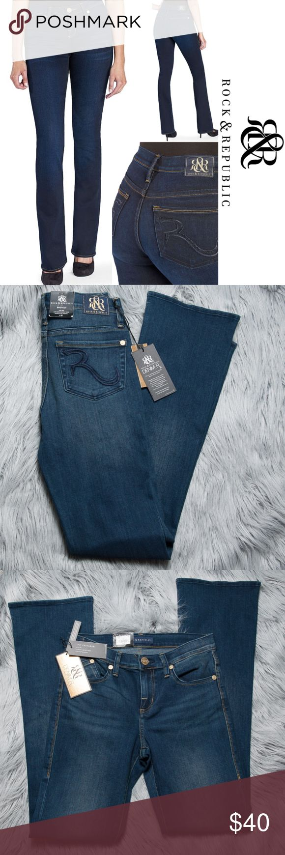 "NWT Rock & Republic Denim Rx Kasandra Bootcut Jean New with tags Rock & Republic jeans - Kasandra bootcut. Size 4. Bootcut styling is fitted through the seat and thigh, flaring out slightly at the knee to give you a figure-flattering look. In dark blue wash. Structured denim construction delivers the latest advances in fiber and fit technology to smooth your silhouette. Unprecedented stretch and recovery supports your curves and slims your shape. 5-pocket.   Approximate measurements - 28""…"