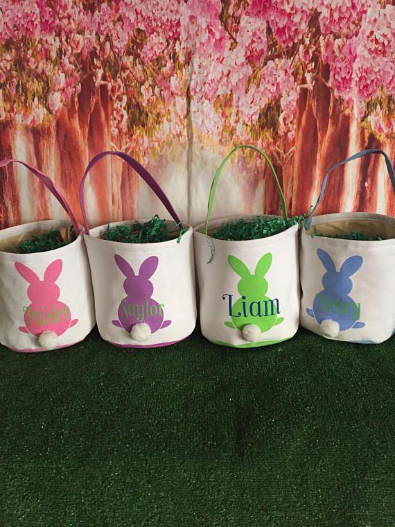 Easter Buckets Custom Flower Easter Basket. Easter Baskets Personalized Easter Bunny Easter Monogram