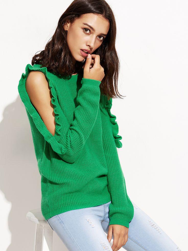 Jersey con hombros al aire de volantes - verde-Spanish SheIn(Sheinside)
