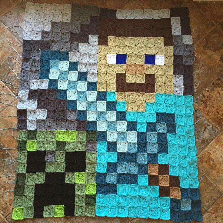 Minecraft crochet blanket