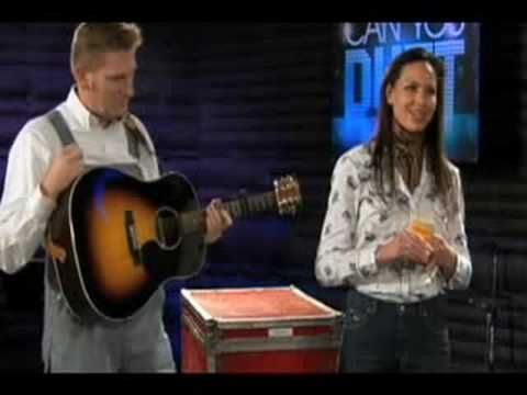 Collage of Joey+Rory performing acoustically on the CMT/American Idol tv show Can You Duet.