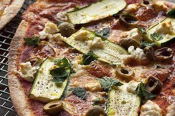 Zucchini, green olive, mint and fetta pizza