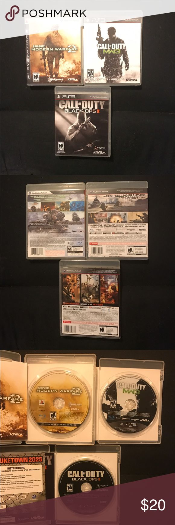 Call of Duty PS3 Bundle MW2, MW3, BO2 Call of Duty PlayStation 3 Bundle. Modern Warfare 2, Modern Warfare 3, Black Opps 2. Gently used and handled with care. Good condition. Remained in cases when not in use. Other