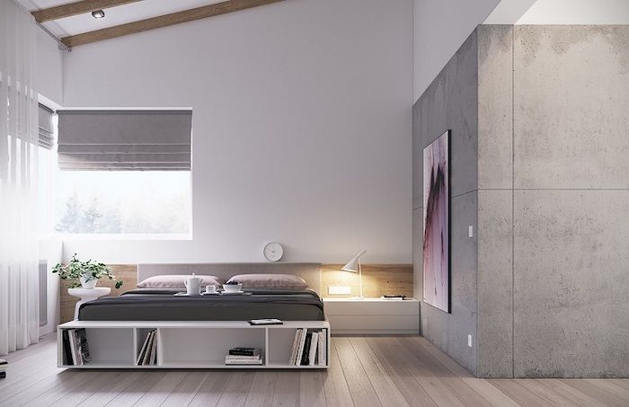 Grey Granite Accent Wall Bedroom Design Ideas White Bed Wooden Floor White Drawers Master Bedroom Wall Decor Small Master Bedroom Modern Master Bedroom