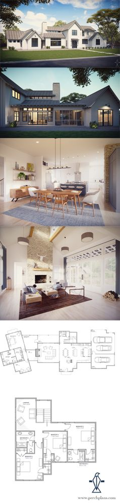 Modern Farmhouse floor plans for sale. Imagine your family in a modern farmhouse today! Learn more: www.perchplans.com