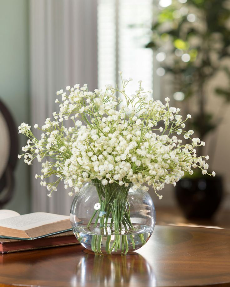 "Add the perfect botanical accent. Sweet, simplistic, delicate... our baby's breath makes an airy accent bouquet gathered in a 6"" glass ball vase with clear acrylic water. Choose your favorite color, classic white or fresh green."