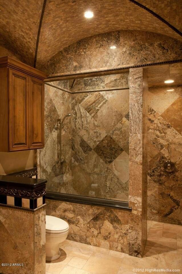 When The Tiles Started Falling Off The Bathroom Walls This Couple Knew It Was Time For A Makeover Bat Tuscan Bathroom Dream Bathrooms Bathroom Remodel Shower