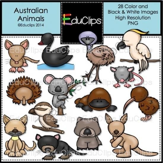 Australian Animals Clip Art Bundle from Educlips on TeachersNotebook.com - (28 pages) - Australian Animals Clip Art Bundle - This set contains all of the images shown: animals found in Australia - bandicoot, black swan, cockatoo, dingo, echidna, emu, kangaroo, kiwi, koala, kookaburra, platypus, possum, tasmanian devil, wombat.