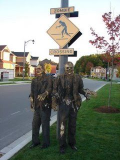 Make a zombie crossing sign: This will be terrific for my granddaughter's elementary school main crossing area.
