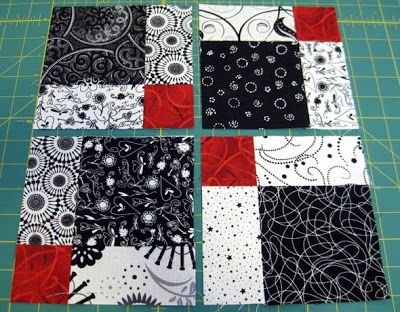"""Disappearing Nine Patch"" block - from Valentine Quiltworks blog;   After cutting a standard nine patch block vertically and horizontally down the center, turn two of the blocks.  Now the nine patch has disappeared and the center accent square is now four small squares in the block."