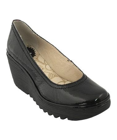 Another great find on #zulily! Black Yoni Leather Wedge by FLY London #zulilyfinds