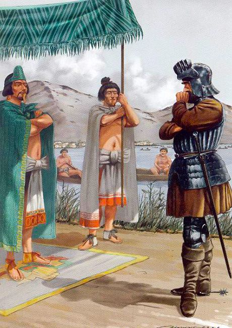Interview between Hernán Cortés and Moctezuma by Dionisio Álvarez Cueto