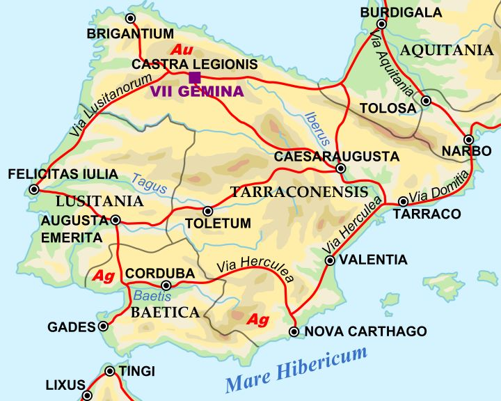 The Iberian peninsula in the time of Hadrian (ruled 117–138 AD)