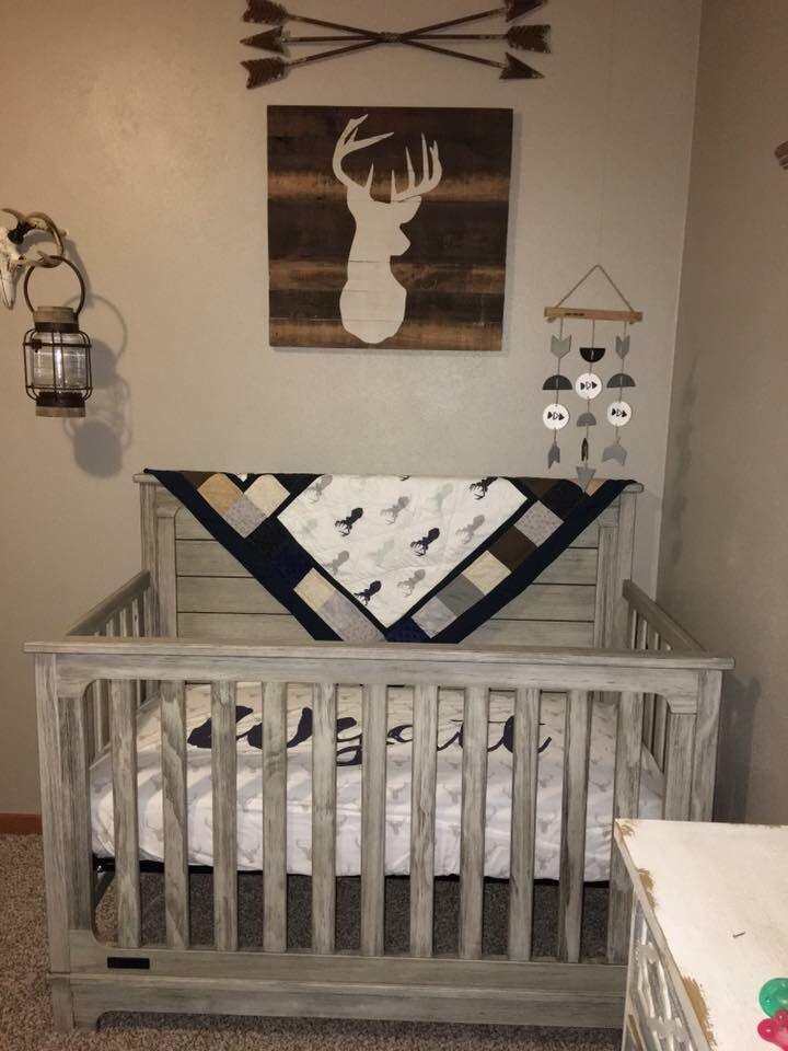 Baby Boy Nursery Deer Heads And Arrows Rustic Nursery