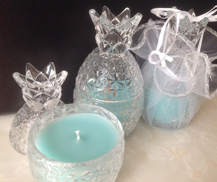 Mini Pineapple glass jars scented with Ocean Mist OzSoy Wax.  $15 ea