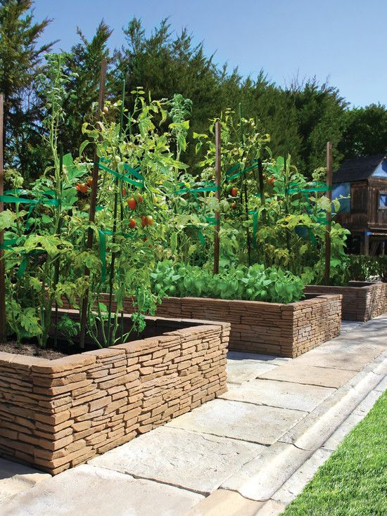 stacked stone used for raised garden beds