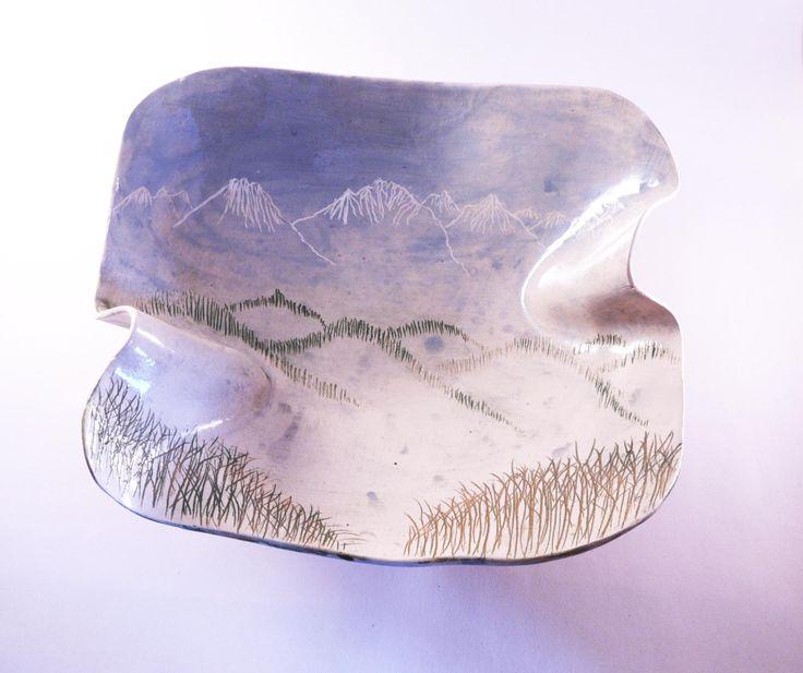 Unique winter bowl, sgraffito bowl, handmade bowl, ceramic bowl, japanese style, mountain bowl, handcraft ceramic, beautiful bowl, pottery by CeramicsNaturalist on Etsy