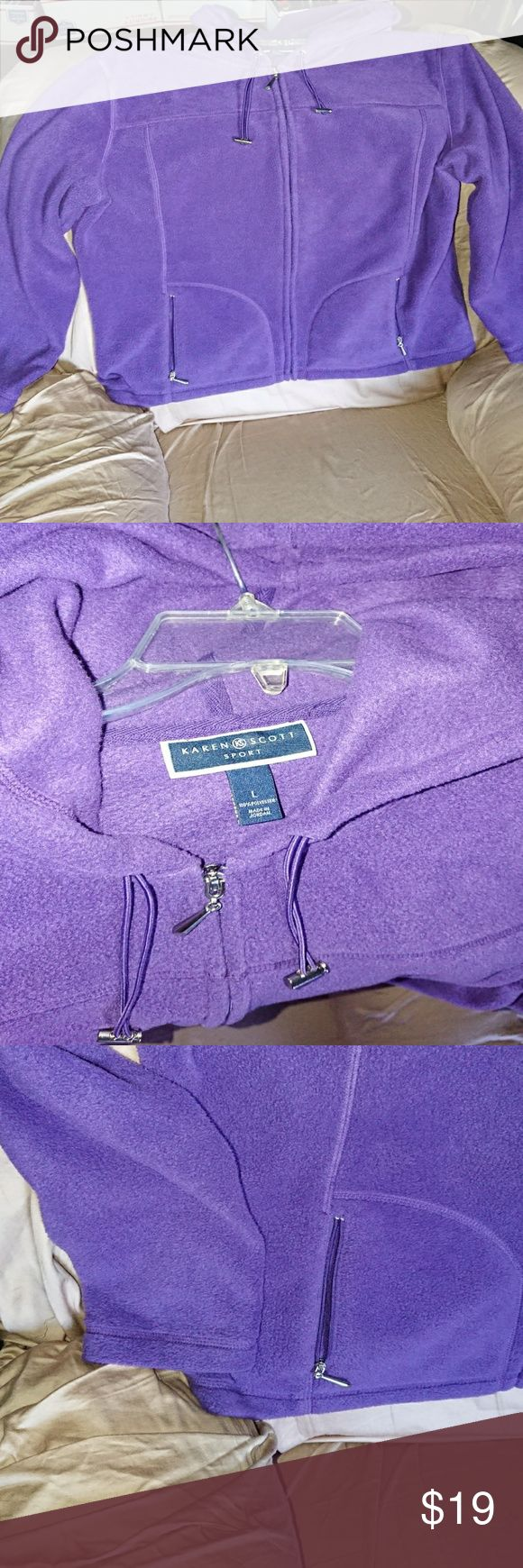Karen Scott L Sport hooded fleece jacket purple Pre-owned no defects Karen Scott Jackets & Coats Utility Jackets