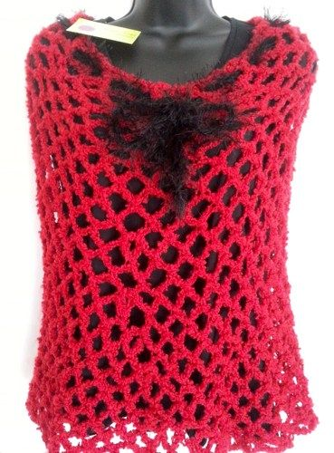 Valentine's Capelet in Red - Crochet  | ClaudiasCrochetCreations - Accessories on ArtFire